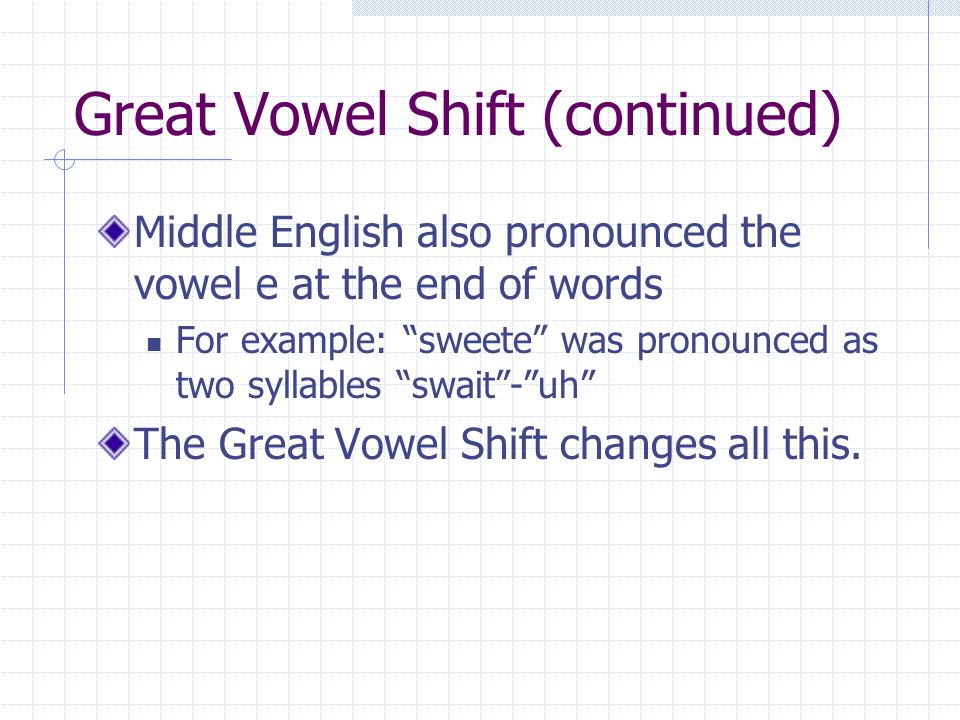 Great Vowel Shift (continued) Middle English also pronounced the vowel e at the end of words For example: sweete was pronounced as two syllables swait - uh The Great Vowel Shift changes all this.