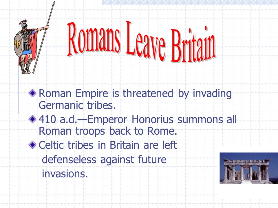 Roman Empire is threatened by invading Germanic tribes.