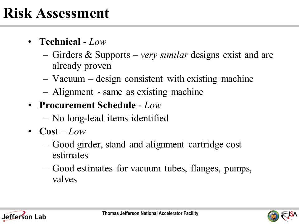 Risk Assessment Technical - Low –Girders & Supports – very similar designs exist and are already proven –Vacuum – design consistent with existing machine –Alignment - same as existing machine Procurement Schedule - Low –No long-lead items identified Cost – Low –Good girder, stand and alignment cartridge cost estimates –Good estimates for vacuum tubes, flanges, pumps, valves