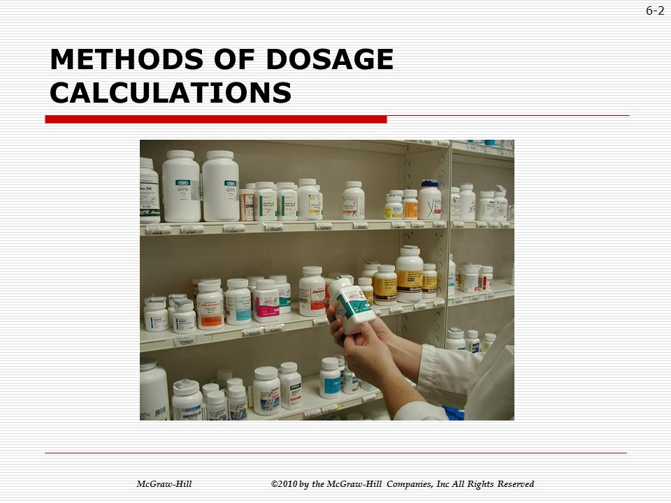 McGraw-Hill ©2010 by the McGraw-Hill Companies, Inc All Rights Reserved Math for the Pharmacy Technician: Concepts and Calculations Chapter 6: Dosage Calculations Egler Booth
