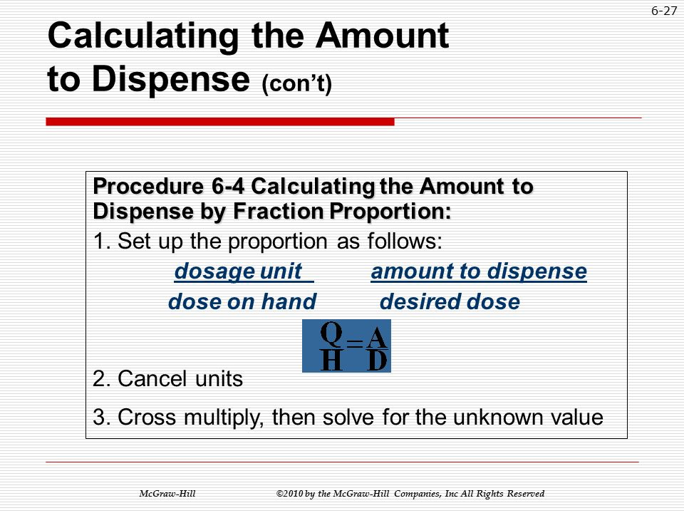 McGraw-Hill ©2010 by the McGraw-Hill Companies, Inc All Rights Reserved 6-26 Calculating the Amount to Dispense (con't) The dosage strength or the dose on hand (H) per the dosage unit (Q).