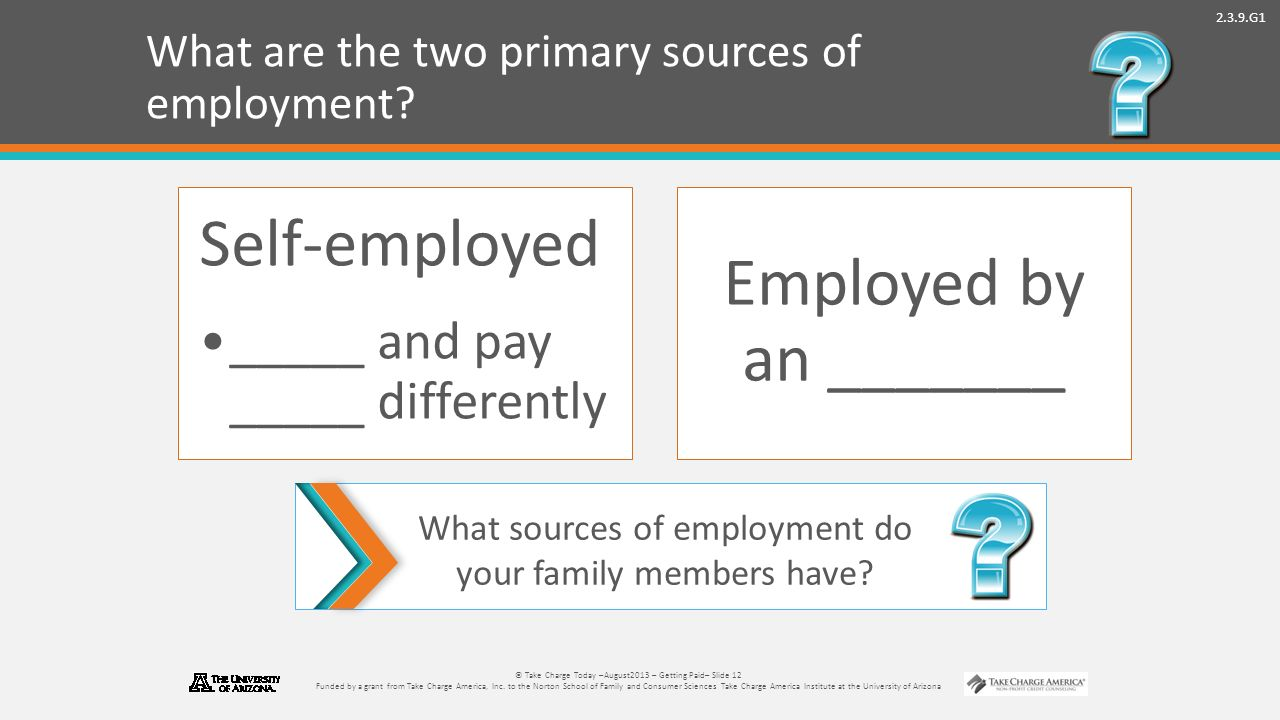 2.3.9.G1 © Take Charge Today –August2013 – Getting Paid– Slide 12 Funded by a grant from Take Charge America, Inc.
