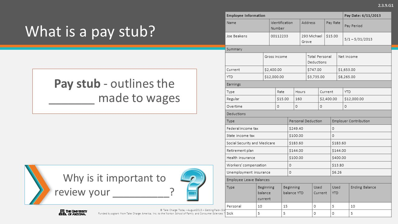 2.3.9.G1 © Take Charge Today –August2013 – Getting Paid– Slide 38 Funded by a grant from Take Charge America, Inc.