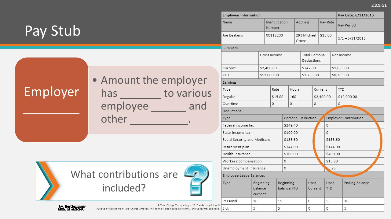 2.3.9.G1 © Take Charge Today –August2013 – Getting Paid– Slide 44 Funded by a grant from Take Charge America, Inc.
