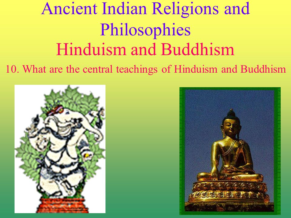 Ancient Indian Religions and Philosophies Hinduism and Buddhism 10.