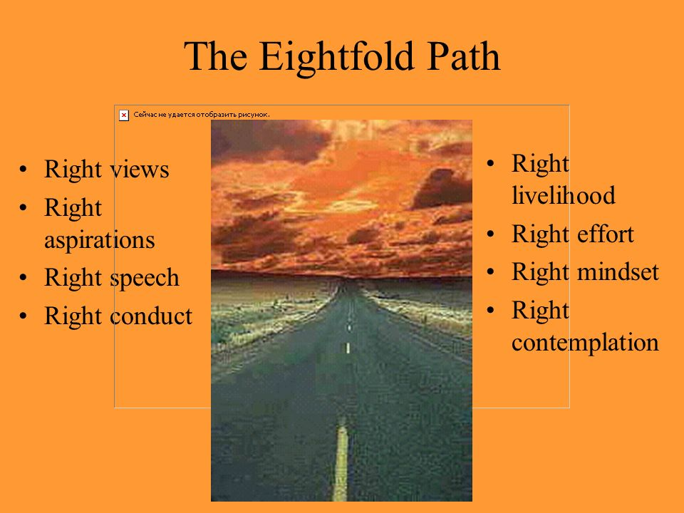 The Eightfold Path Right views Right aspirations Right speech Right conduct Right livelihood Right effort Right mindset Right contemplation