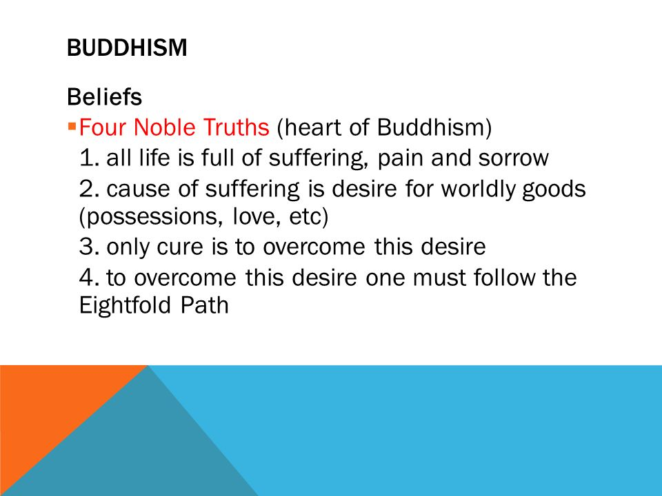 Beliefs  Four Noble Truths (heart of Buddhism) 1.