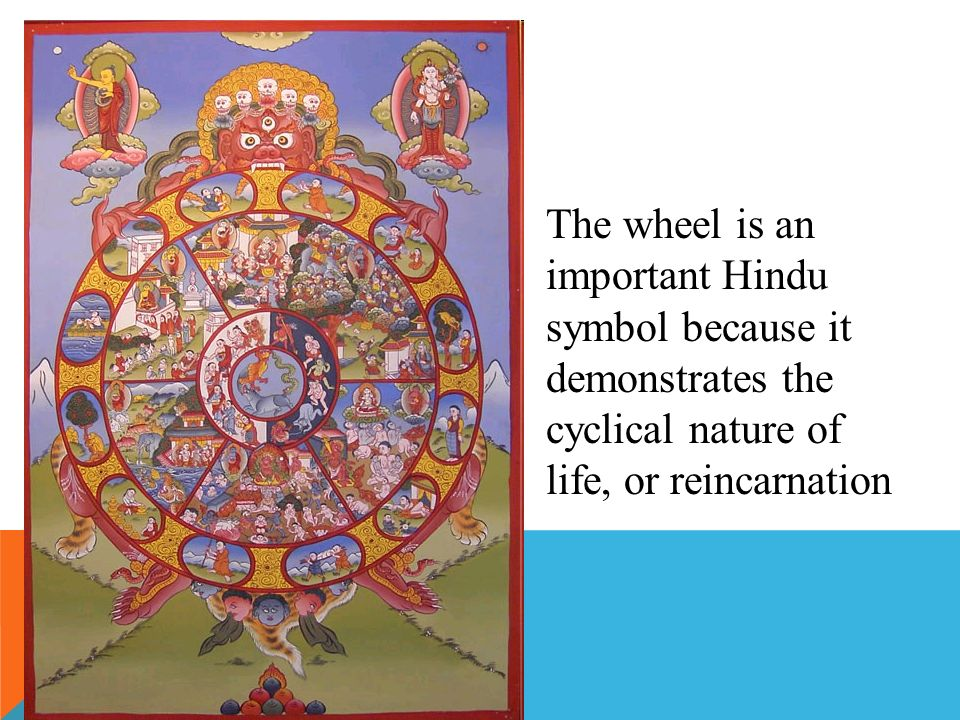 The wheel is an important Hindu symbol because it demonstrates the cyclical nature of life, or reincarnation