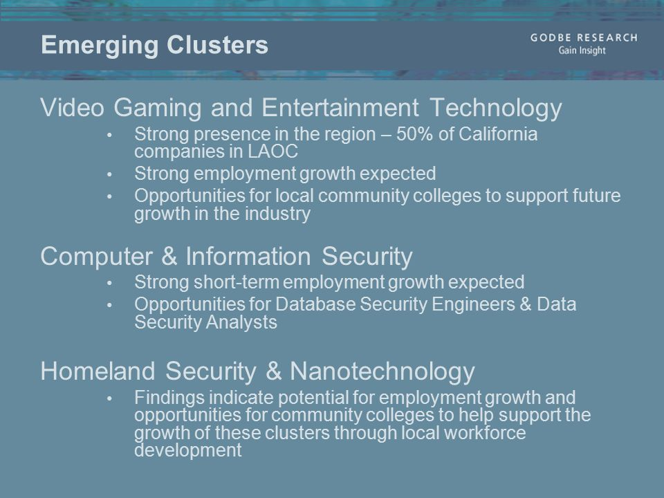 Emerging Clusters Video Gaming and Entertainment Technology Strong presence in the region – 50% of California companies in LAOC Strong employment growth expected Opportunities for local community colleges to support future growth in the industry Computer & Information Security Strong short-term employment growth expected Opportunities for Database Security Engineers & Data Security Analysts Homeland Security & Nanotechnology Findings indicate potential for employment growth and opportunities for community colleges to help support the growth of these clusters through local workforce development
