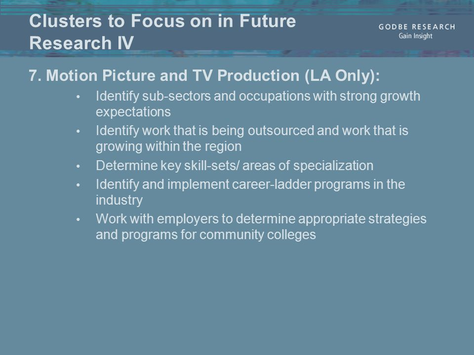 Clusters to Focus on in Future Research IV 7.