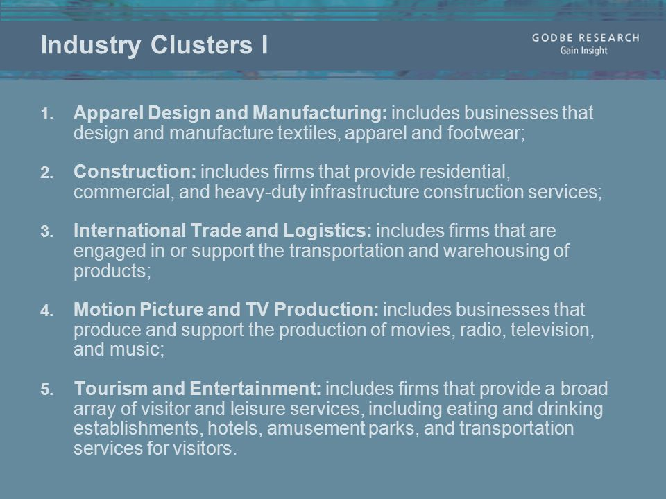 Industry Clusters I 1.