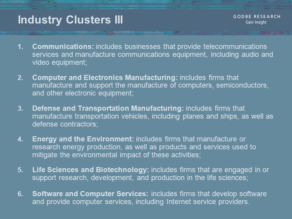 Industry Clusters III 1.