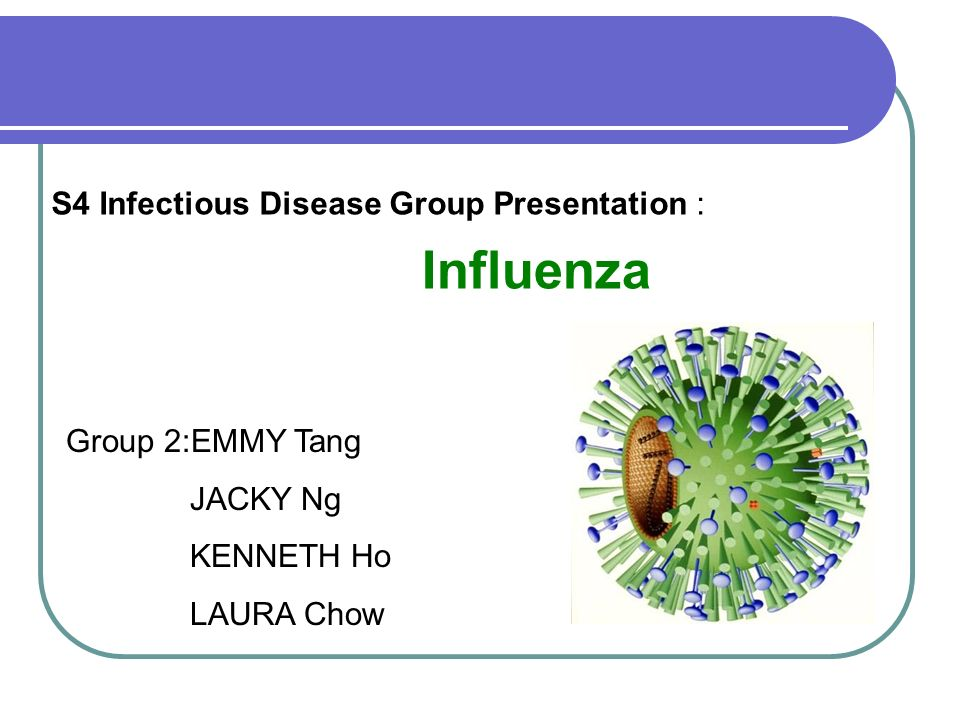 1 S4 Infectious Disease Group Presentation : Influenza Group 2:EMMY Tang JACKY Ng KENNETH Ho LAURA Chow