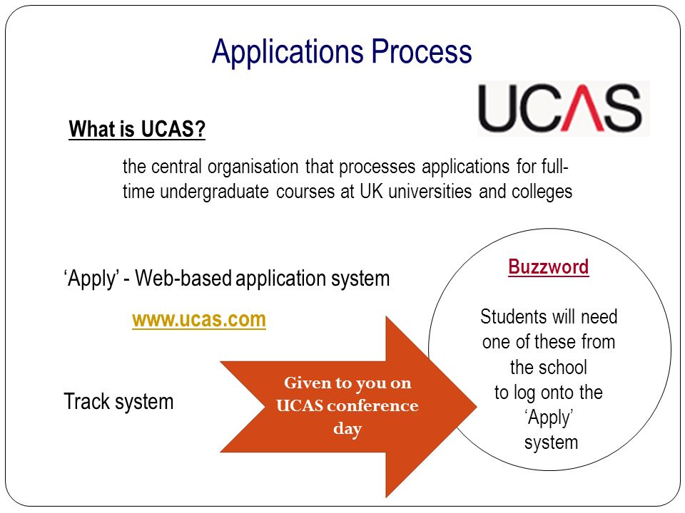 Applications Process 'Apply' - Web-based application system   Track system the central organisation that processes applications for full- time undergraduate courses at UK universities and colleges What is UCAS.