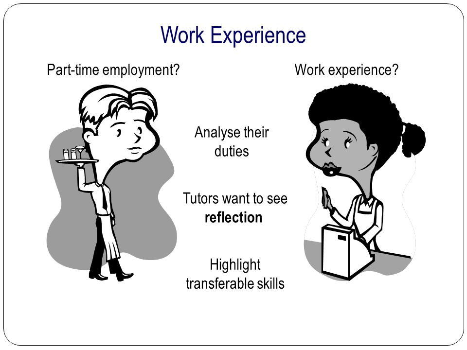 Work Experience Tutors want to see reflection Part-time employment.