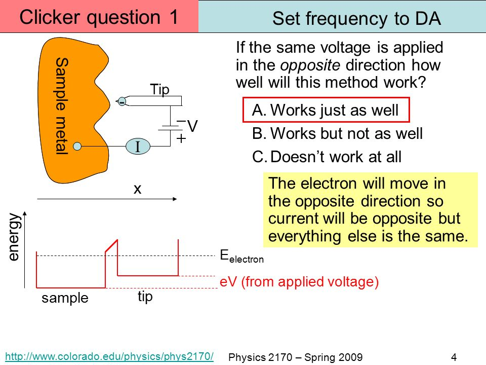 Physics 2170 – Spring energy Tip Sample metal tip x sample V I eV (from applied voltage) - E electron If the same voltage is applied in the opposite direction how well will this method work.