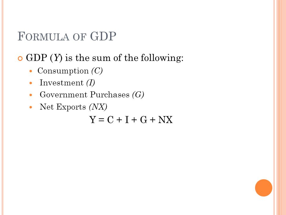 F ORMULA OF GDP GDP ( Y ) is the sum of the following: Consumption (C) Investment (I) Government Purchases (G) Net Exports (NX) Y = C + I + G + NX