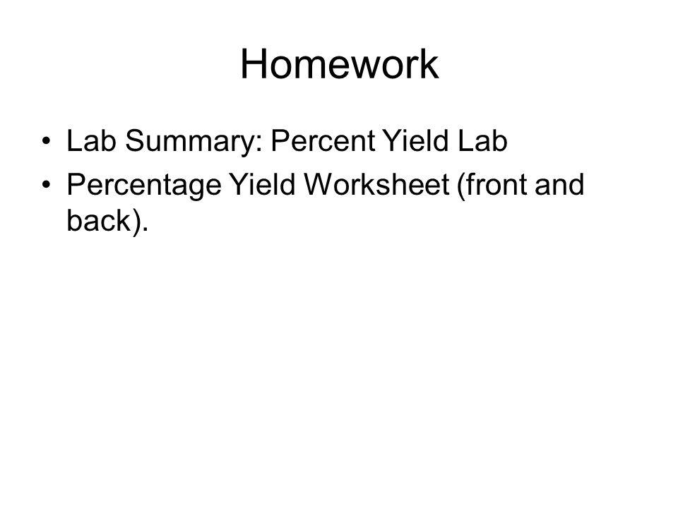 Chapter 9 Mass Mass Calculations 2Al 6HCl 2AlCl 3 3H 2 – Stoichiometry Percent Yield Worksheet