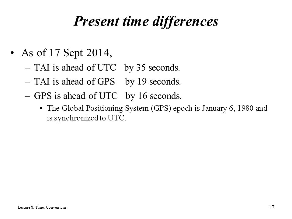 Present Time Differences As Of  Tai Is Ahead Of Utc By