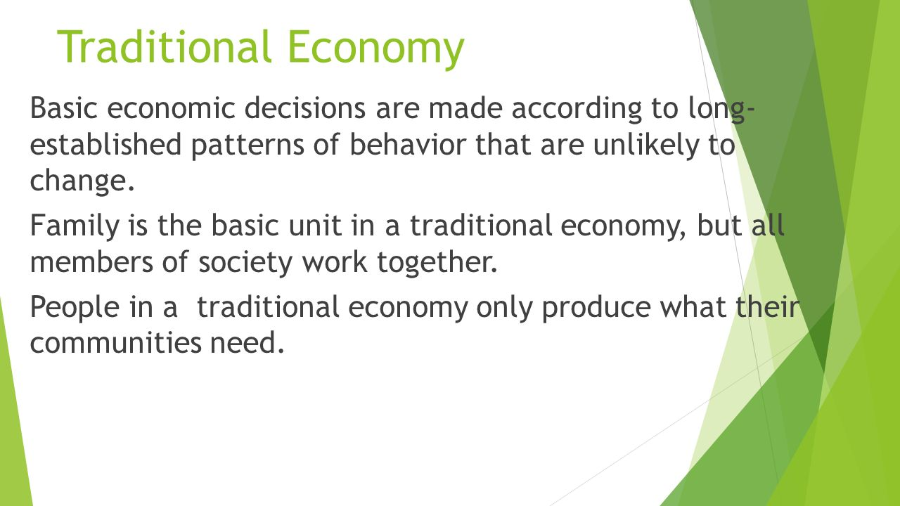there are different types of economic There are different types of economic system these include: the traditional, the command/socialist economy, pure capitalism, and mixed economic systems.
