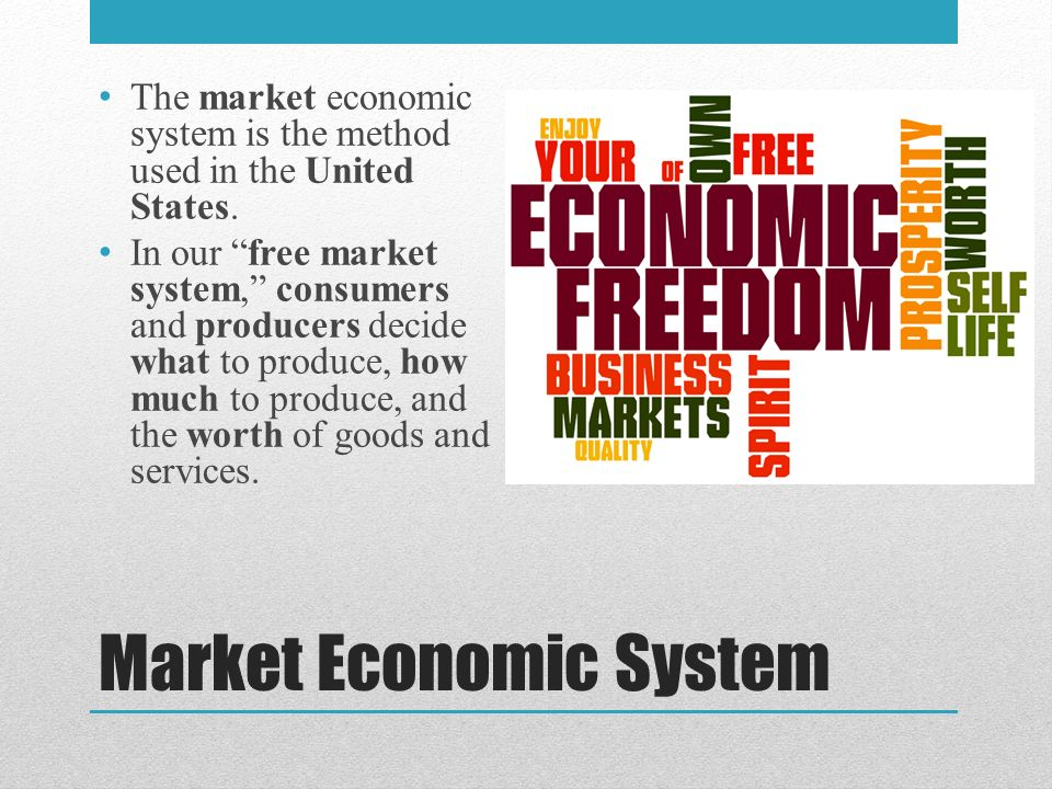 Market Economic System The market economic system is the method used in the United States.