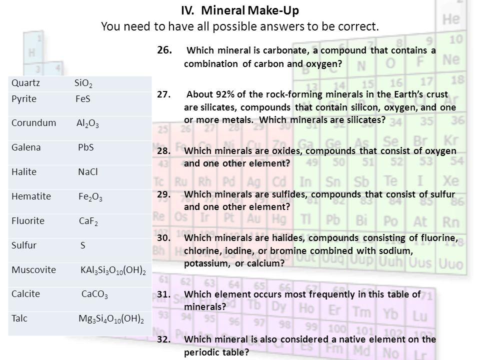 element breakdown answers minerals of elements of atoms example quartz sio - Periodic Table Symbol Breakdown