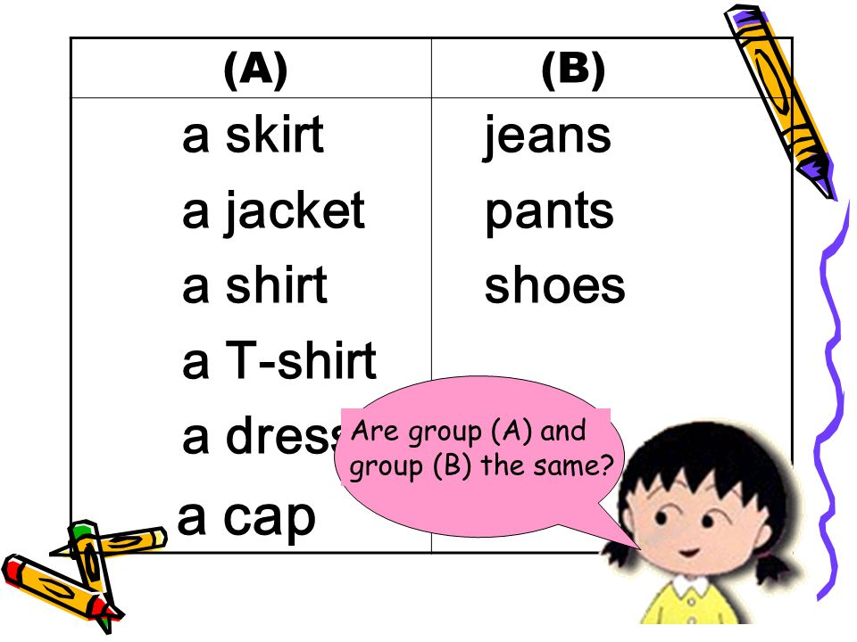 (A) (B) a skirt a jacket a shirt a T-shirt a dress a cap jeans pants shoes Are group (A) and group (B) the same
