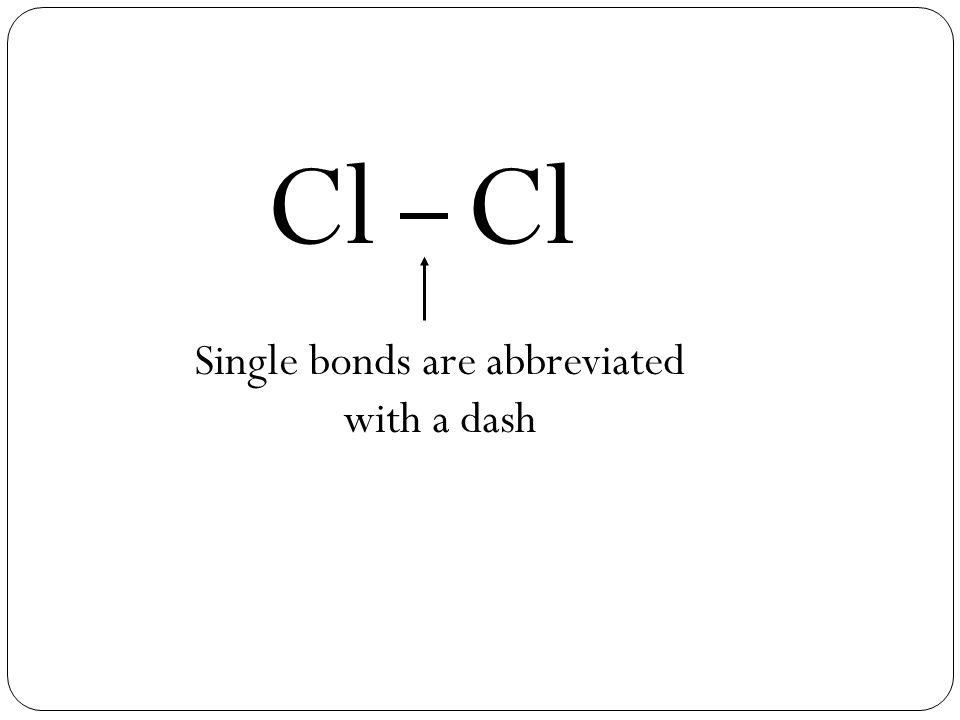 Cl Single bonds are abbreviated with a dash
