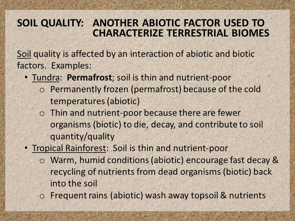 Soil quality is affected by an interaction of abiotic and biotic factors.