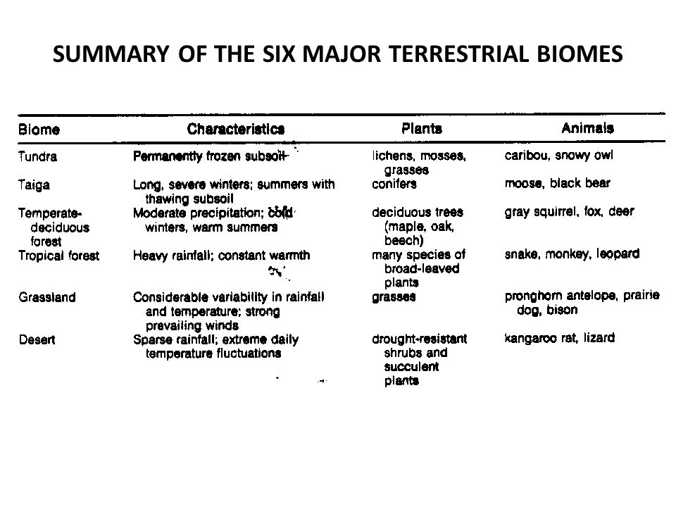 SUMMARY OF THE SIX MAJOR TERRESTRIAL BIOMES