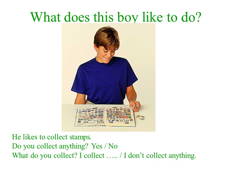 What does this boy like to do. He likes to collect stamps.