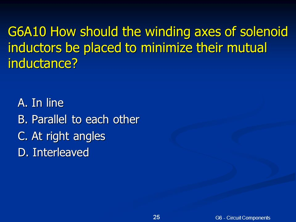G6A10 How should the winding axes of solenoid inductors be placed to minimize their mutual inductance.
