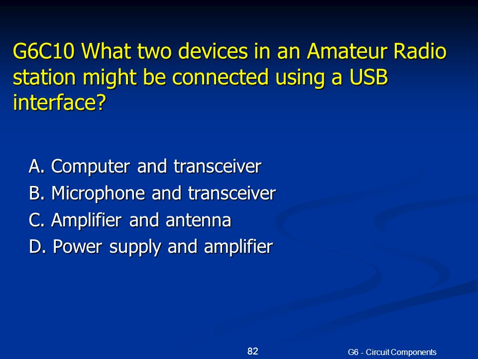 G6C10 What two devices in an Amateur Radio station might be connected using a USB interface.