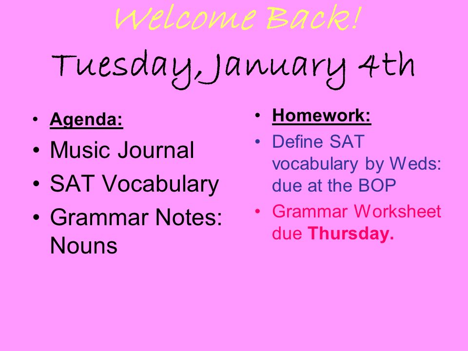 Grammar Homework