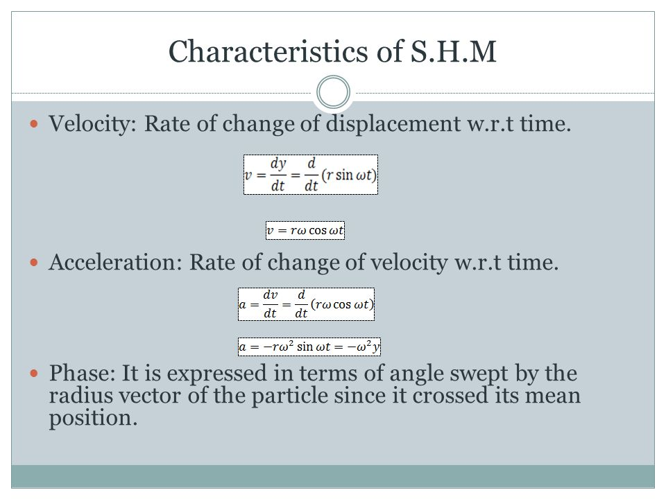 Characteristics of S.H.M Velocity: Rate of change of displacement w.r.t time.