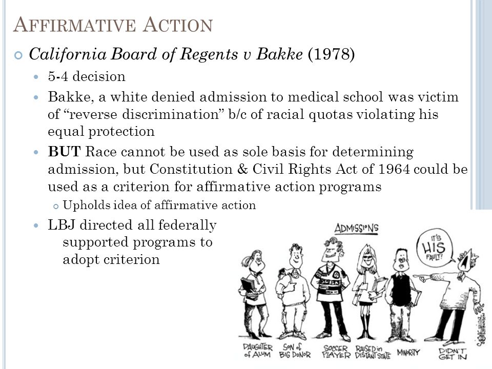 explain the three criteria for reverse discrimination under affirmative action plans Occasionally, the term also is used to negatively describe programs meant to advance or promote minorities and address inequality, such as affirmative action while the term reverse discrimination is not expressly included in federal civil rights laws, these types of lawsuits are generally brought as discrimination cases under title vii of the civil rights act of 1964 and other statutes.