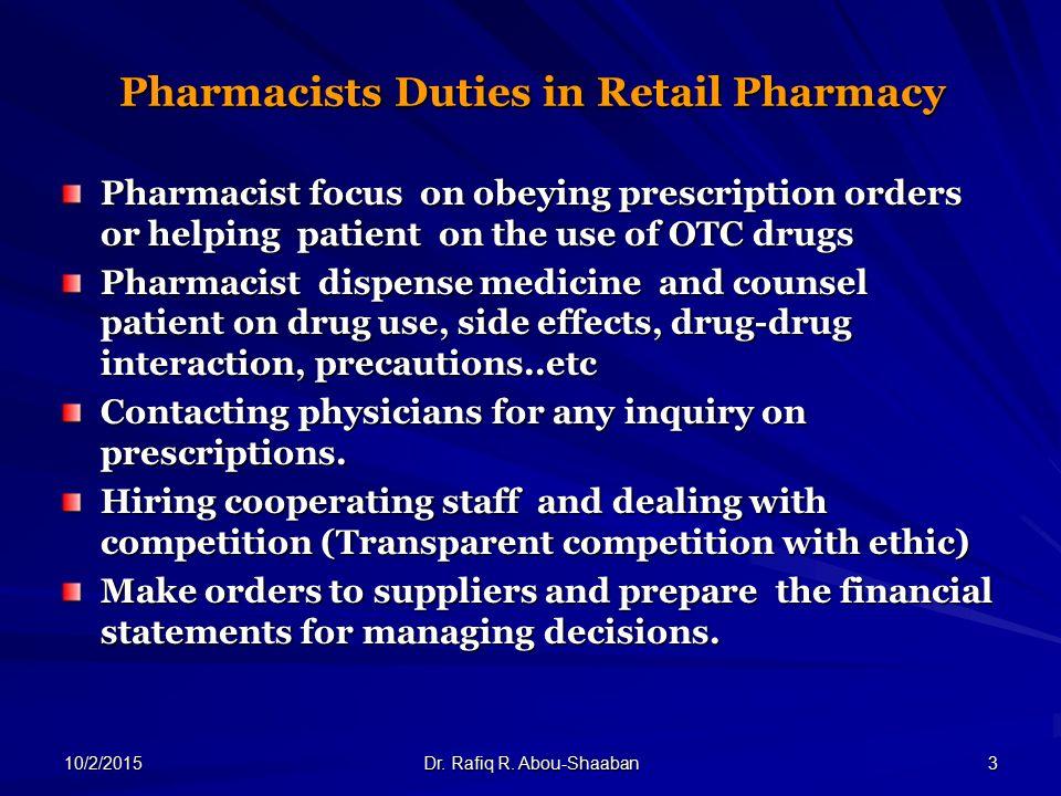 3 pharmacists duties in retail pharmacy pharmacist focus - Pharmacist Duties