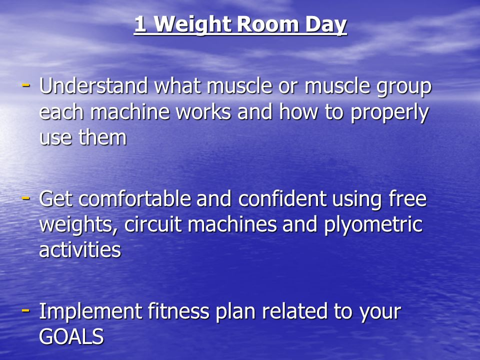 1 Classroom Day - Gain an understanding of fitness, nutrition and techniques to lead an active lifestyle - Introduce weight room exercises and skills - Develop a fitness plan designed to achieve our GOALS