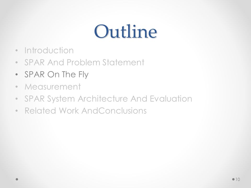 Outline Introduction SPAR And Problem Statement SPAR On The Fly Measurement SPAR System Architecture And Evaluation Related Work AndConclusions 10