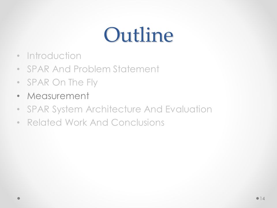 Outline Introduction SPAR And Problem Statement SPAR On The Fly Measurement SPAR System Architecture And Evaluation Related Work And Conclusions 14