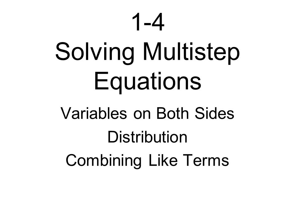14 Solving Multistep Equations Variables on Both Sides – Combining Like Terms Equations Worksheet