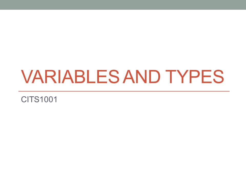 VARIABLES AND TYPES CITS1001