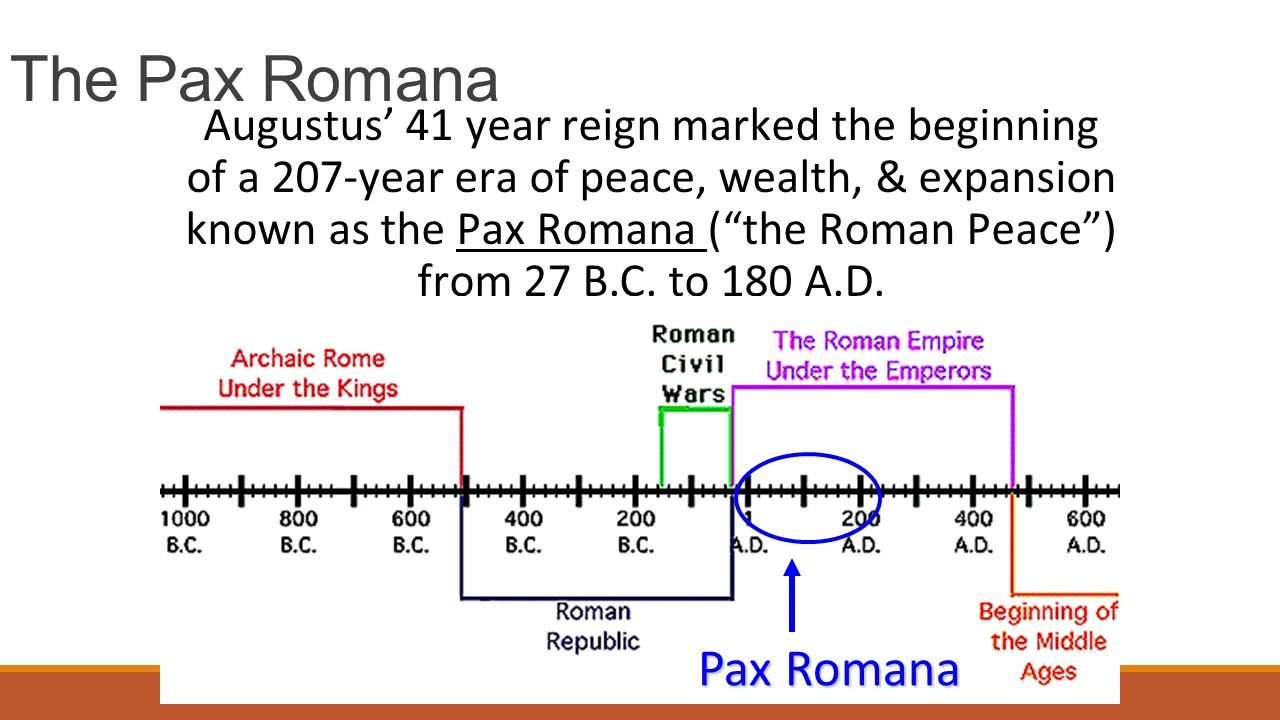 The Pax Romana Augustus' 41 year reign marked the beginning of a 207-year era of peace, wealth, & expansion known as the Pax Romana ( the Roman Peace ) from 27 B.C.