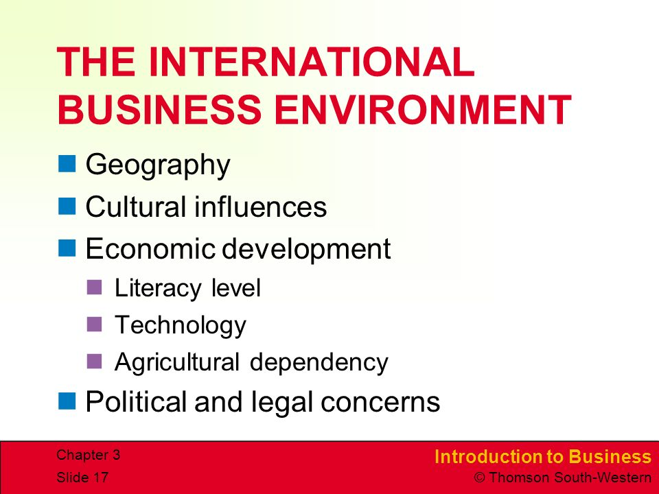 introduction to international business evironment Introduction to business environment-1 - authorstream presentation introduction to international business environment by: asguest130724.