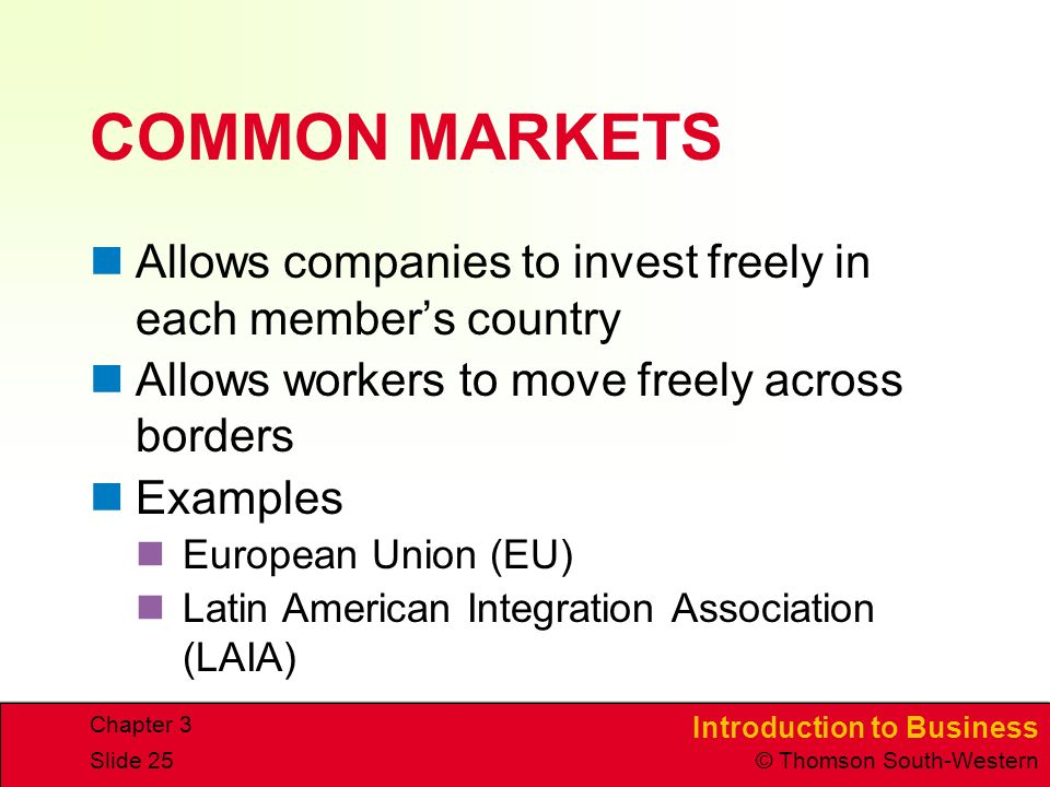 Introduction to Business © Thomson South-Western Chapter 3 Slide 25 COMMON MARKETS Allows companies to invest freely in each member's country Allows workers to move freely across borders Examples European Union (EU) Latin American Integration Association (LAIA)