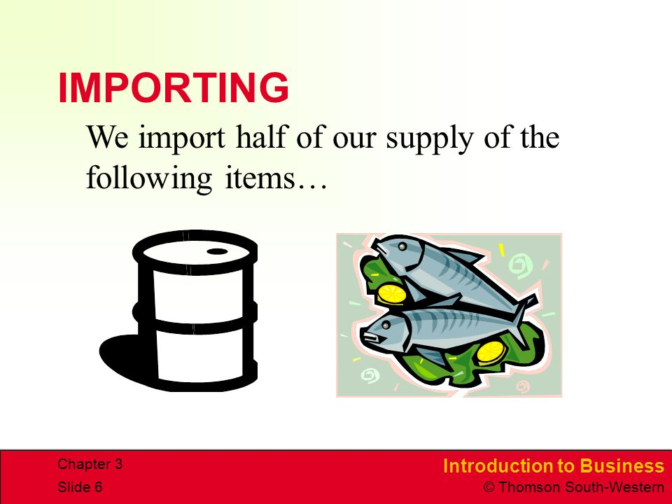 Introduction to Business © Thomson South-Western Chapter 3 Slide 6 IMPORTING We import half of our supply of the following items…