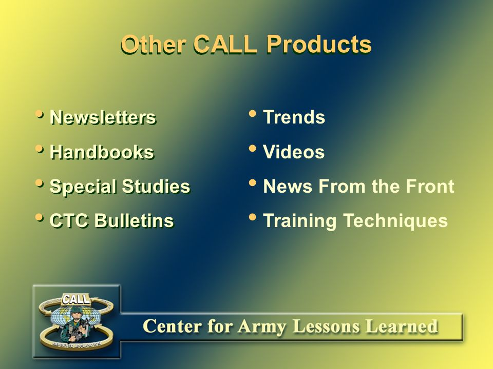 The CALL Homepage and MOUT   MOUT hot button – Links – Published Articles CALL/FMSO/Others – DOD Urban Operations Journals – SAMS Urban Operations Curriculum – USMC Related Articles – Briefings   MOUT hot button – Links – Published Articles CALL/FMSO/Others – DOD Urban Operations Journals – SAMS Urban Operations Curriculum – USMC Related Articles – Briefings