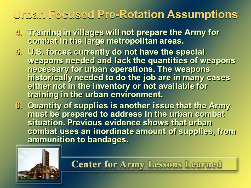 Urban Focused Pre-Rotation Assumptions (as of Nov.