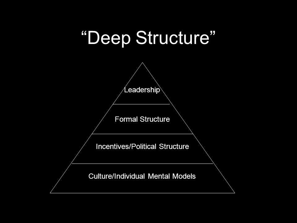 Deep Structure Leadership Formal Structure Incentives/Political Structure Culture/Individual Mental Models