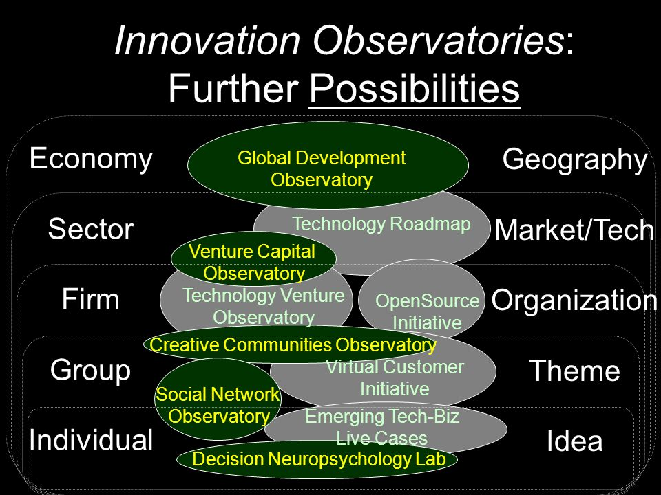 Innovation Observatories: Further Possibilities Economy Sector Firm Group Individual Geography Market/Tech Organization Theme Idea Technology Roadmap Technology Venture Observatory OpenSource Initiative Virtual Customer Initiative Emerging Tech-Biz Live Cases Global Development Observatory Venture Capital Observatory Creative Communities Observatory Decision Neuropsychology Lab Social Network Observatory